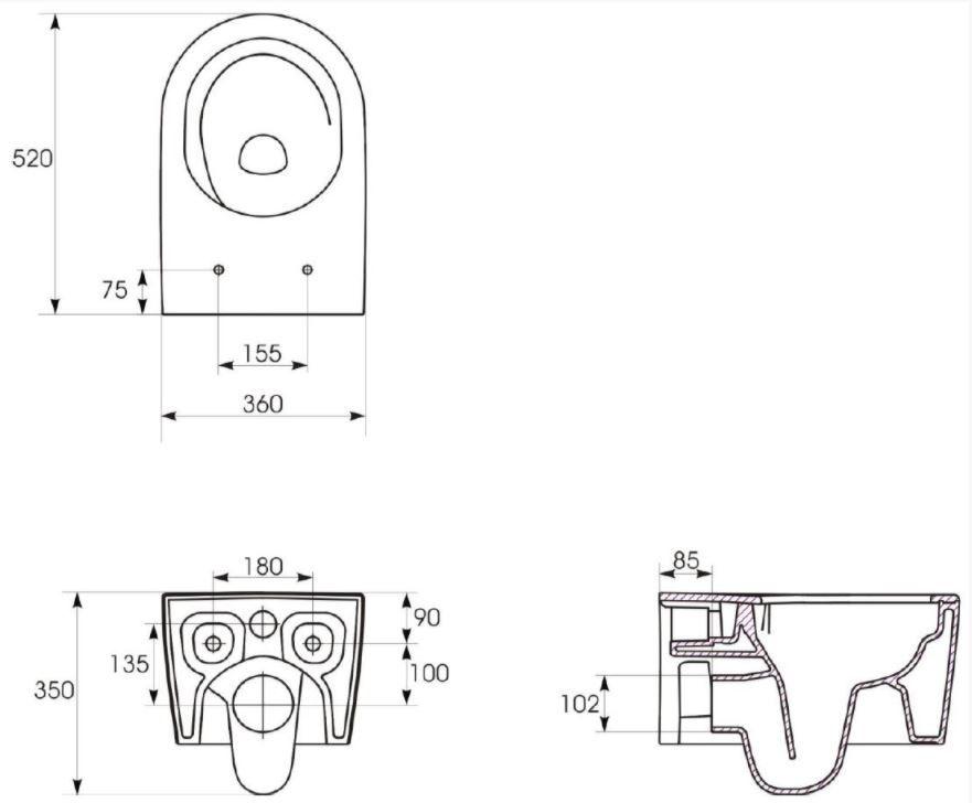 predstenový inštalačný systém bez tlačidla + WC CERSANIT INVERTO + SEDADLO duraplastu SOFT-CLOSE (H895652 X IN1)