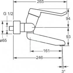 HANSA - Medipro Páková umývadlová nástenná batéria, chróm (02552205), fotografie 4/2