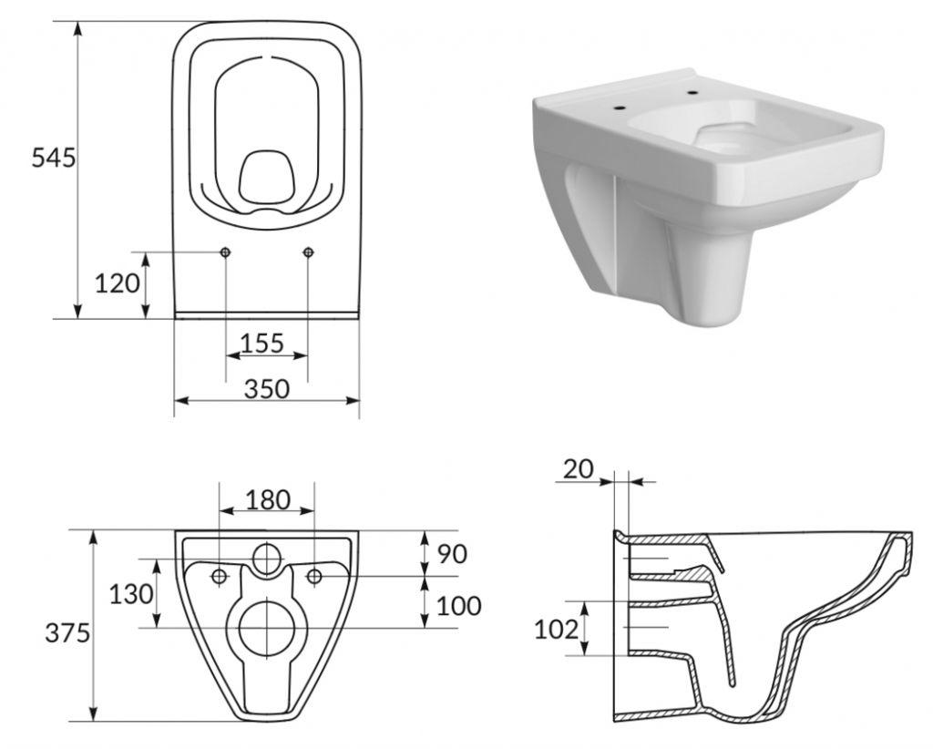 predstenový inštalačný systém bez tlačidla + WC CERSANIT CLEANON SPLENDOUR + SEDADLO (H895652 X SP1)