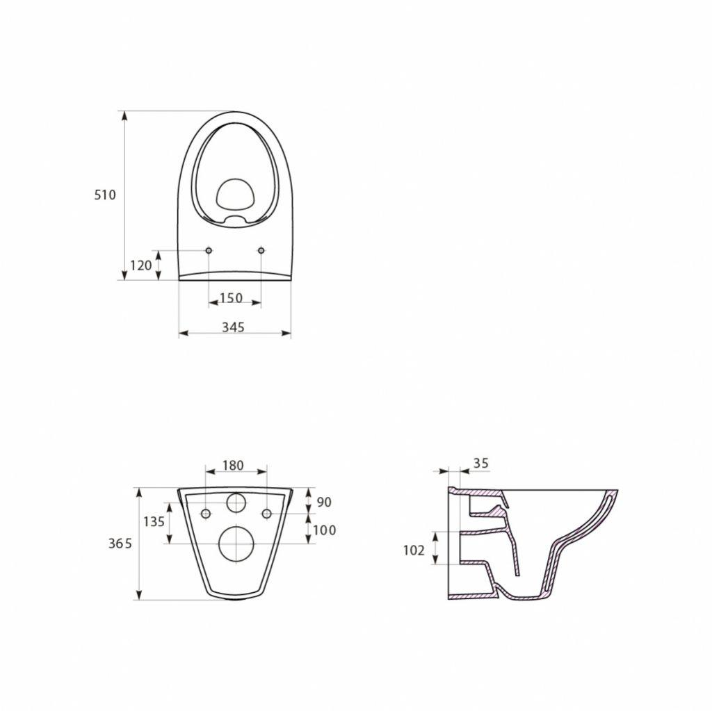 predstenový inštalačný systém bez tlačidla + WC CERSANIT CLEANON PARVA + SEDADLO (H895652 X PA2)