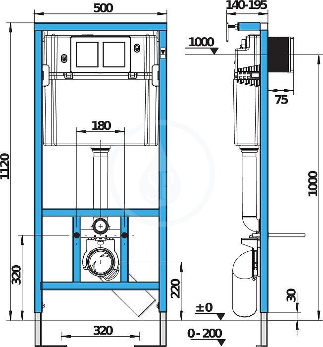 predstenový inštalačný systém bez tlačidla + WC CERSANIT CLEANON PARVA + SEDADLO (H895652 X PA1)