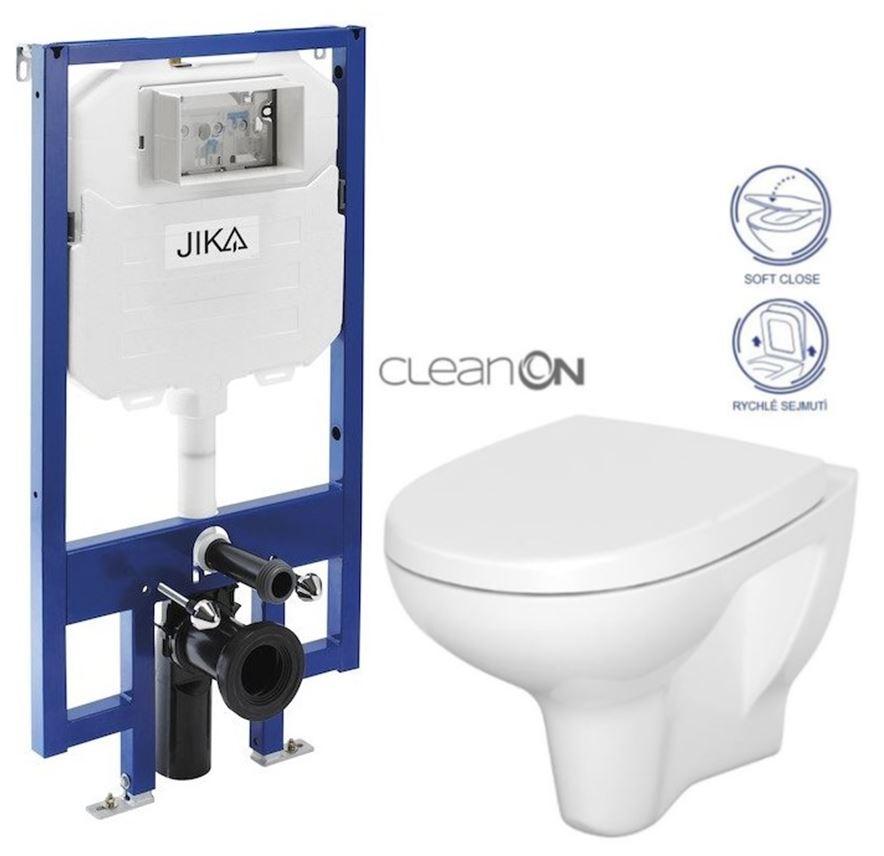 JIKA - předstěnový instalační 8 cm systém bez tlačítka + WC CERSANIT ARTECO CLEANON + SEDÁTKO (H894652 X AT1)