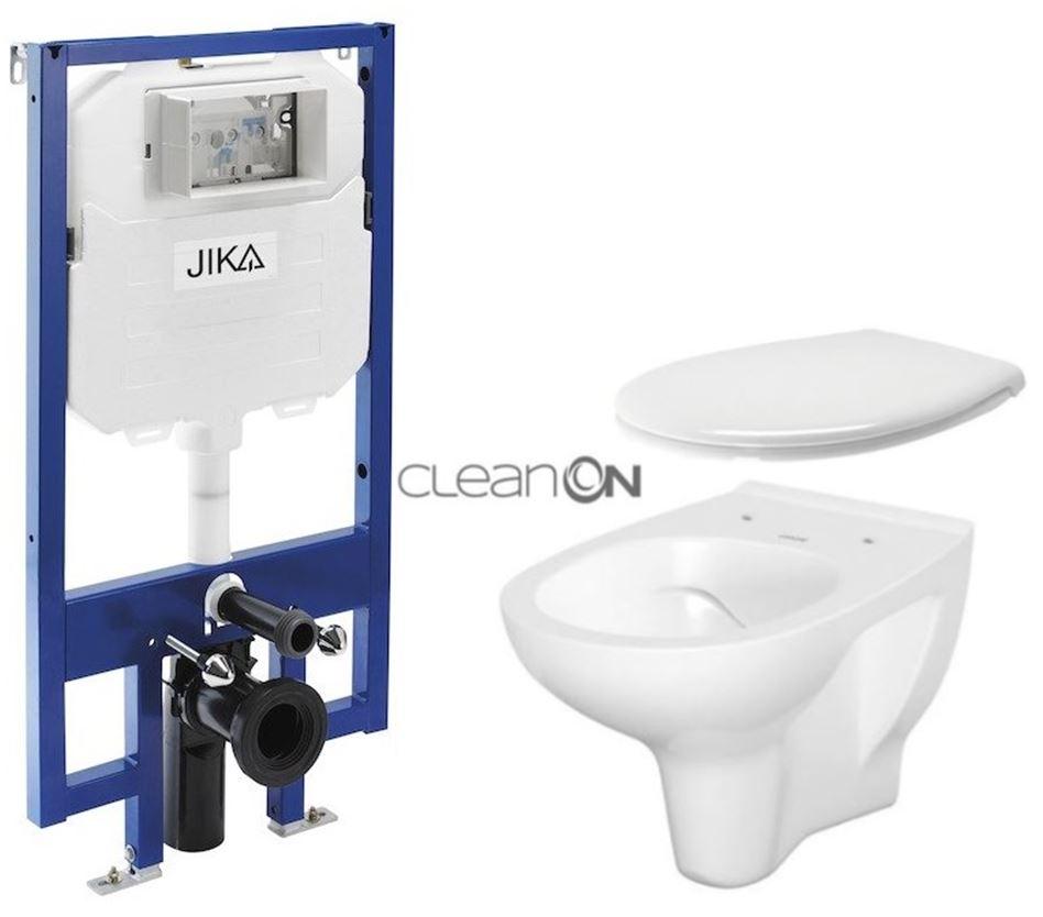JIKA - předstěnový instalační 8 cm systém bez tlačítka + WC CERSANIT ARTECO CLEANON + SEDÁTKO (H894652 X AT2)