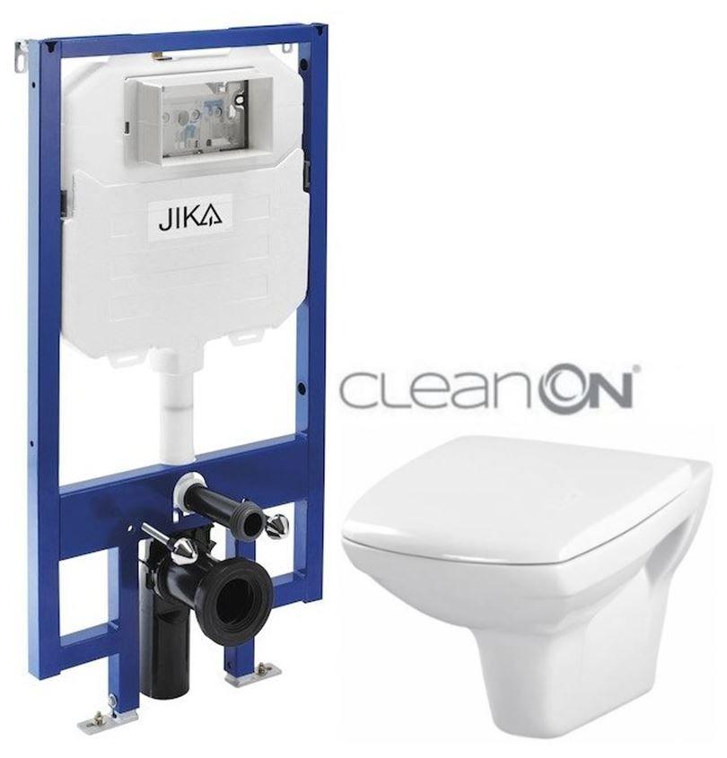 JIKA predstenový inštalačný 8 cm systém bez tlačidla + WC CERSANIT CLEANON CARINA + SEDADLO H894652 X CA1