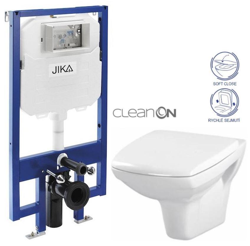JIKA - předstěnový instalační 8 cm systém bez tlačítka + WC CERSANIT CLEANON CARINA + SEDÁTKO (H894652 X CA2)
