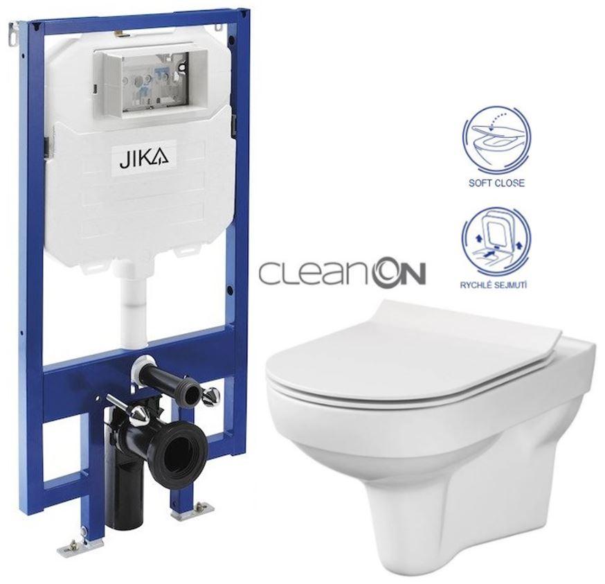 JIKA - předstěnový instalační 8 cm systém bez tlačítka + WC CERSANIT CITY NEW CLEANON + WC SEDÁTKO SLIM (H894652 X CI2)