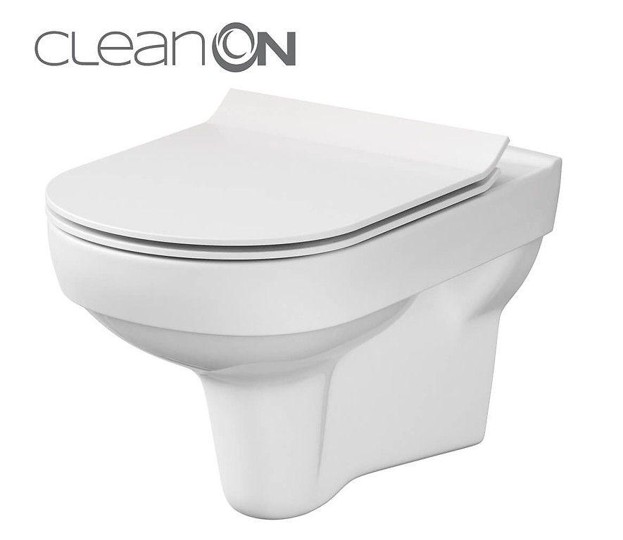 predstenový inštalačný 8 cm systém bez tlačidla + WC CERSANIT CITY NEW CLEANON + WC SEDENIE SLIM (H894652 X CI2)