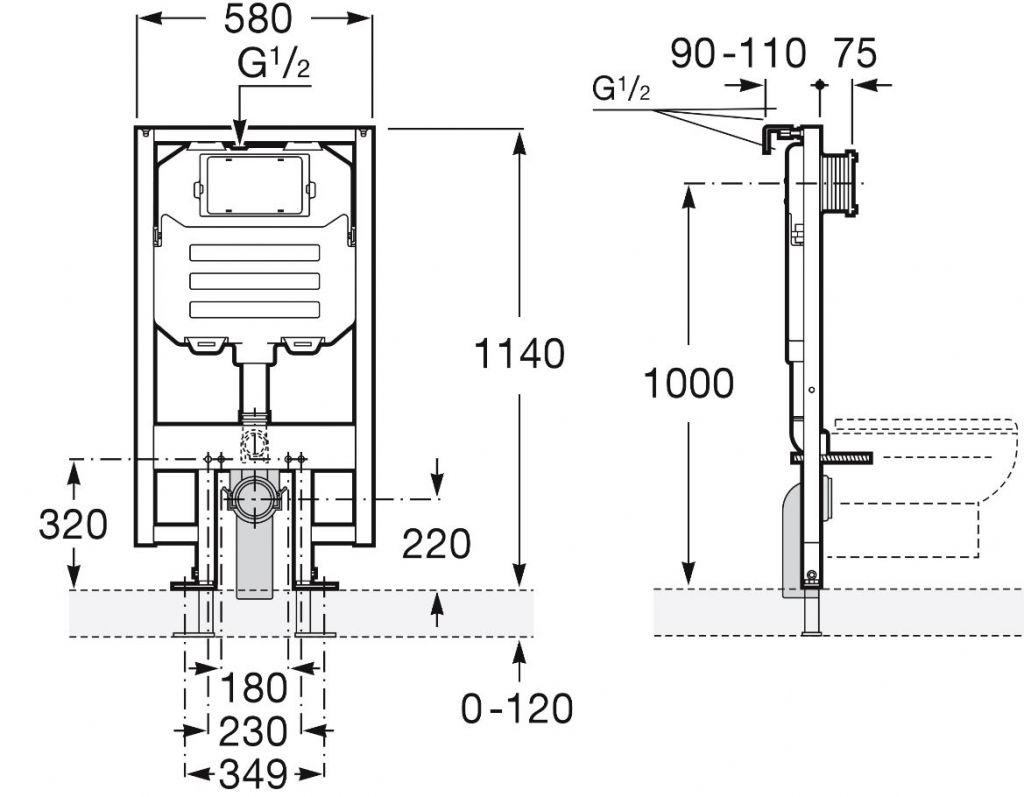 predstenový inštalačný 8 cm systém bez tlačidla + WC CERSANIT CLEANON CREA štvorec + SEDADLO (H894652 X CR2)
