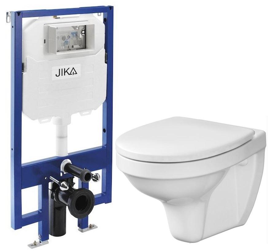 JIKA - předstěnový instalační 8 cm systém bez tlačítka + WC CERSANIT DELFI + SEDÁTKO (H894652 X DE1)