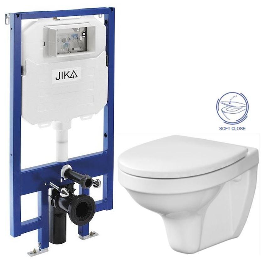JIKA - předstěnový instalační 8 cm systém bez tlačítka + WC CERSANIT DELFI + SOFT SEDÁTKO (H894652 X DE2)