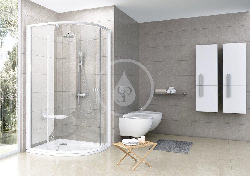 RAVAK - Pivot Štvrťkruhový sprchovací kút pivotový trojdielny PSKK3-100, šírka 970 mm – 995 mmx970 mm – 995 mm, rádius 500 mm – farba biela/chróm, sklo transparent 376AA100Z1