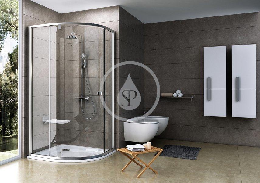 RAVAK - Pivot Štvrťkruhový sprchovací kút pivotový trojdielny PSKK3-100, šírka 970 mm – 995 mmx970 mm – 995 mm, rádius 500 mm – farba satin/satin, sklo transparent 376AAU00Z1