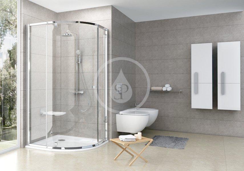 RAVAK - Pivot Štvrťkruhový sprchovací kút pivotový trojdielny PSKK3-100, šírka 970 mm – 995 mmx970 mm – 995 mm, rádius 500 mm – farba svetlý hliník, sklo transparent 376AAC00Z1