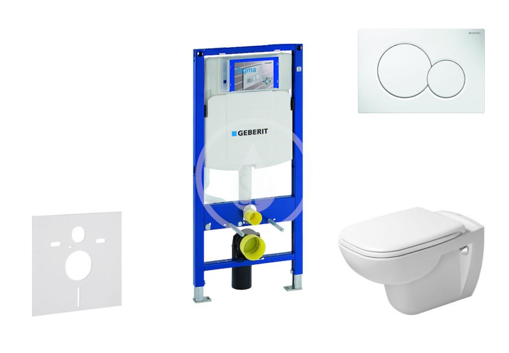 GEBERIT - Duofix Modul pro závěsné WC s tlačítkem Sigma01, alpská bílá + Duravit D-Code - WC a sedátko, Rimless, SoftClose (111.300.00.5 NH1)