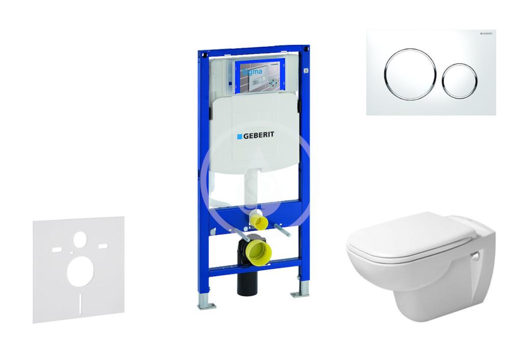 GEBERIT - Duofix Modul pro závěsné WC s tlačítkem Sigma20, bílá/lesklý chrom + Duravit D-Code - WC a sedátko, Rimless, SoftClose (111.300.00.5 NH4)