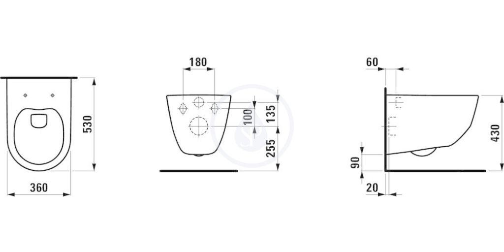 predstenový inštalačný 8 cm systém bez tlačidla + WC LAUFEN PRO + SEDADLO (H894652 X LP3)