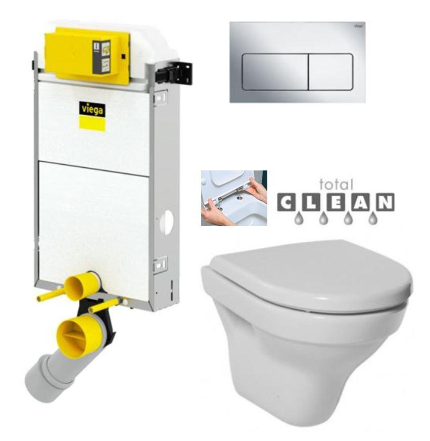 VIEGA Presvista modul PURE pro WC včetně tlačítka Life5 CHROM + WC JIKA TIGO + SEDÁTKO DURAPLAST RYCHLOUPÍNACÍ (V771928 LIFE5CR TI1)