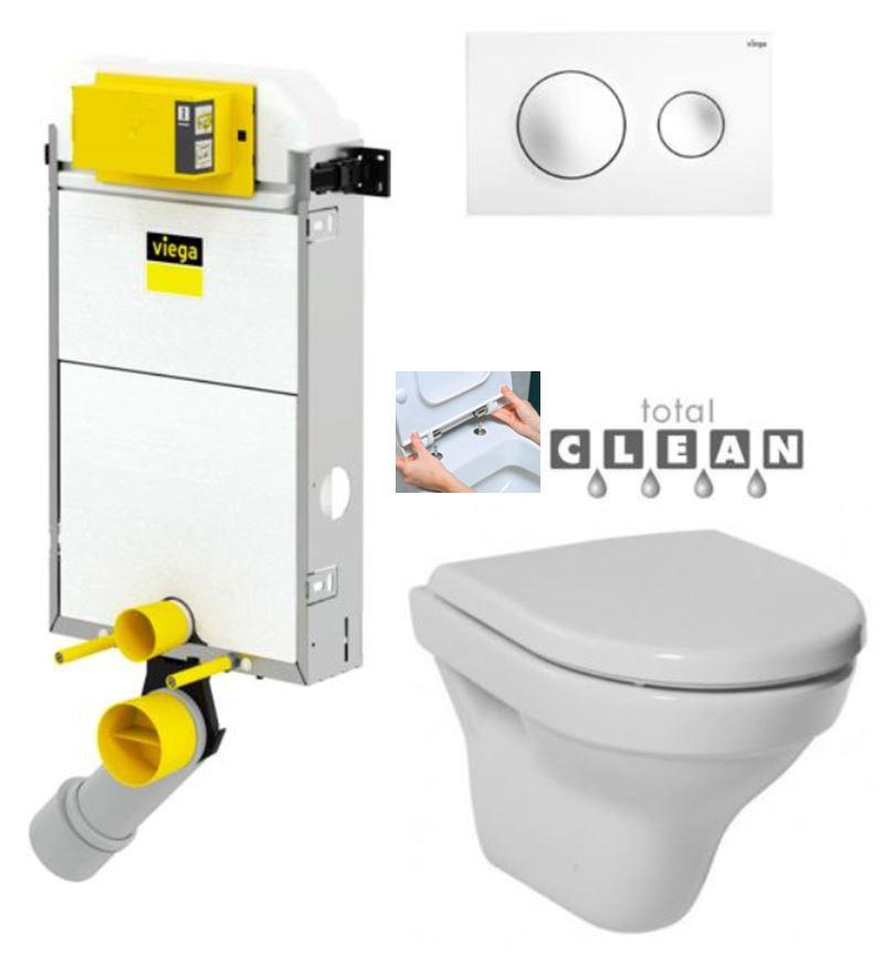 VIEGA Presvista modul PURE pro WC včetně tlačítka Style 20 bílé + WC JIKA TIGO + SEDÁTKO DURAPLAST RYCHLOUPÍNACÍ (V771928 STYLE20BI TI1)