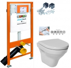 JOMOTech modul pre závesné WC s bielou doskou + WC JIKA TIGO + SEDADLO duraplastu RÝCHLOUPÍNACIE (174-91100900-00 TI1)