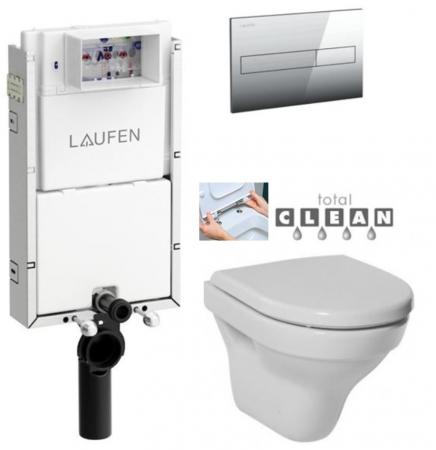 LAUFEN Podomít. systém LIS TW1 SET s chrómovým tlačidlom + WC JIKA TIGO + SEDADLO duraplastu RÝCHLOUPÍNACIE (H8946630000001CR TI1)