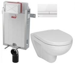 ALCAPLAST  Renovmodul - predstenový inštalačný systém s bielym tlačidlom M1710 + WC JIKA LYRA PLUS + SEDADLO duraplastu (AM115/1000 M1710 LY6)