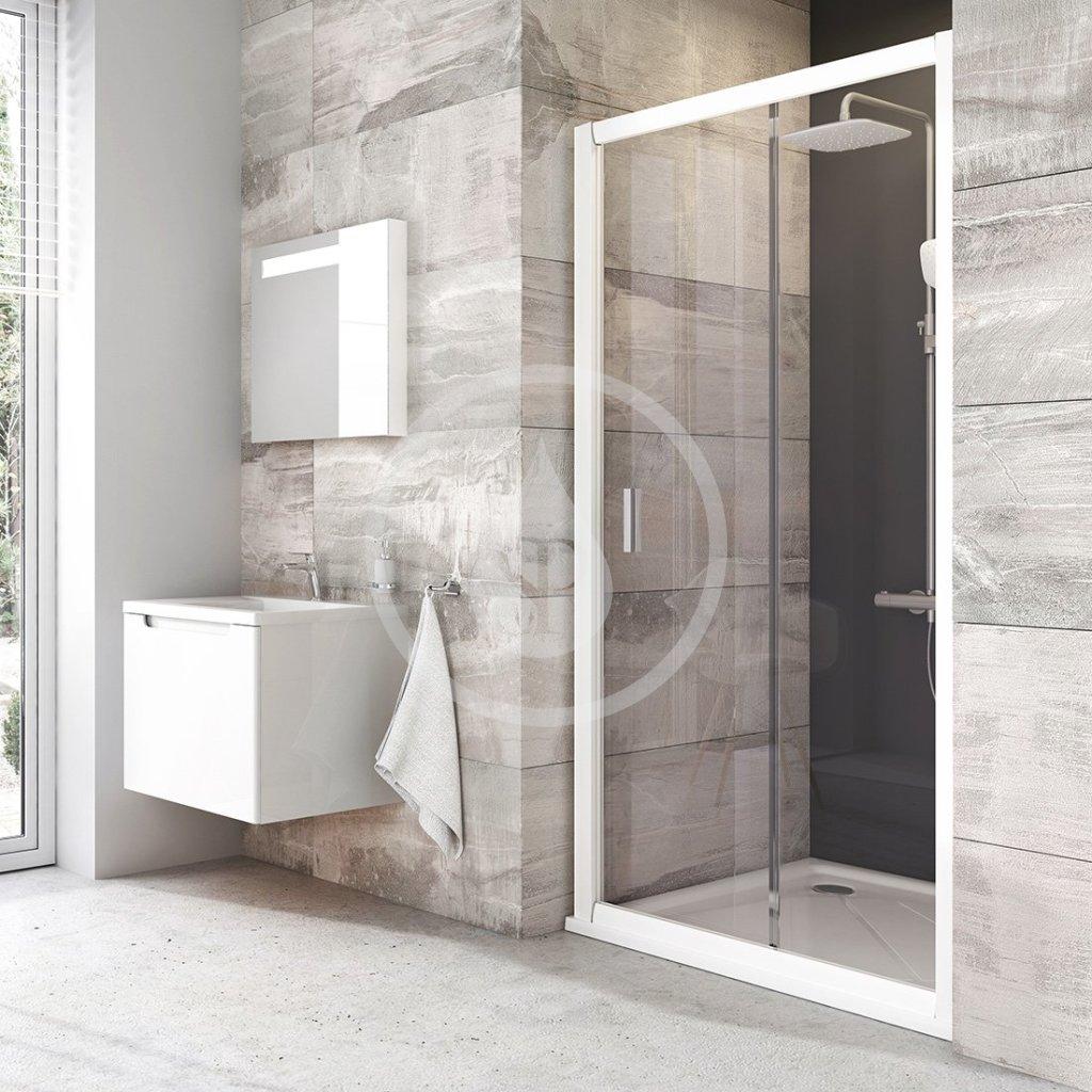 RAVAK - Blix Sprchové dveře dvoudílné BLDP2-100, 970-1010 mm, bílá/čiré sklo (0PVA0100Z1)