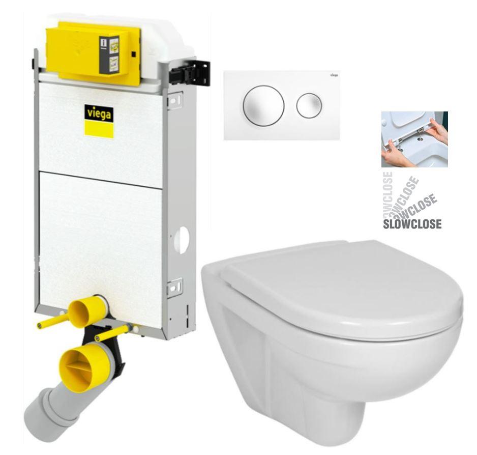 VIEGA Presvista modul PURE pro WC včetně tlačítka Style 20 bílé + WC JIKA LYRA PLUS + SEDÁTKO DURAPLAST SLOWCLOSE (V771928 STYLE20BI LY5)