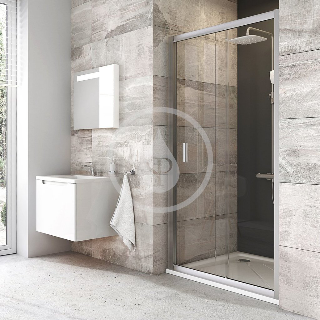 RAVAK - Blix Sprchové dveře dvoudílné BLDP2-100, 970-1010 mm, satin/čiré sklo (0PVA0U00Z1)