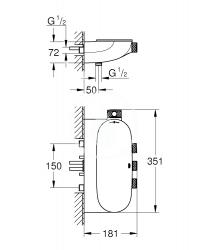 GROHE - Grohtherm SmartControl Kombinovaná termostatická sprchová batéria s 3 ventilmi, chróm (34713000), fotografie 2/1