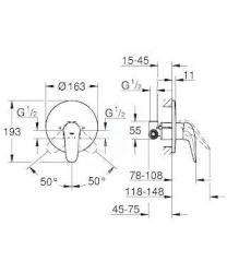 GROHE - Eurostyle Sprchová batéria pod omietku, chróm (23725003), fotografie 2/1