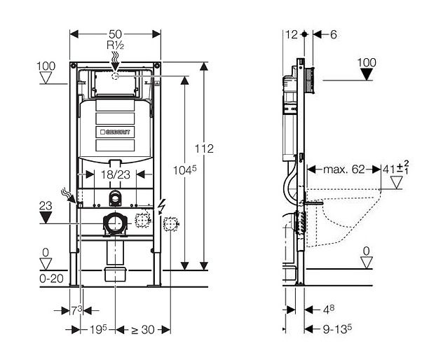 GEBERIT Duofix bez ovládacej dosky + WC JIKA LYRA PLUS 49 + SEDADLO duraplastu SLOWCLOSE (111.300.00.5 LY4)