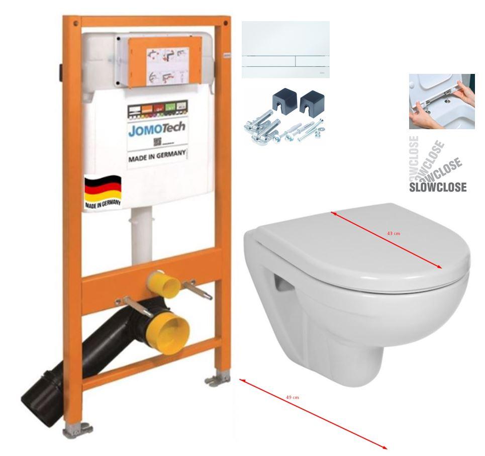 JOMO DUO modul pro závěsné WC s bílou deskou + WC JIKA LYRA PLUS 49 + SEDÁTKO DURAPLAST SLOWCLOSE (174-91100900-00 LY4)