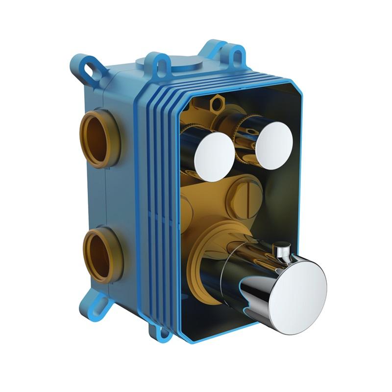 MEREO - Termostatická podomietková tlačidlová batéria - 2-cestná - bez krytu CB60101TAB