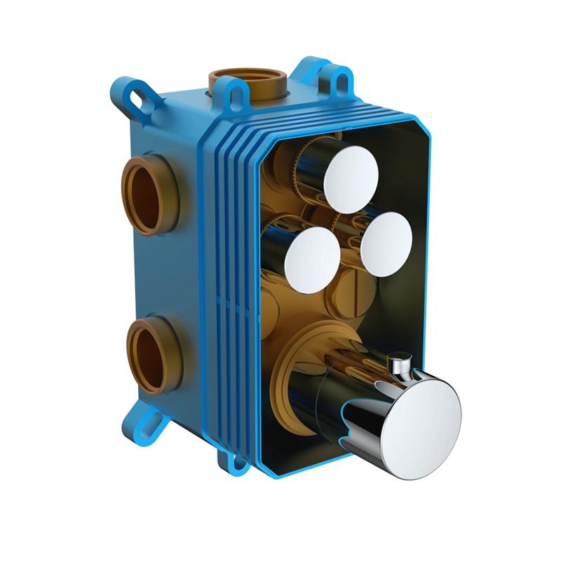 MEREO - Termostatická podomietková tlačidlová batéria - 3-cestná - bez krytu CB60107T