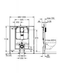 GROHE - Rapid SL Predstenová inštalácia na závesné WC, splachovacia nádržka 80 mm, stavebná výška 113 cm (38995000), fotografie 2/1