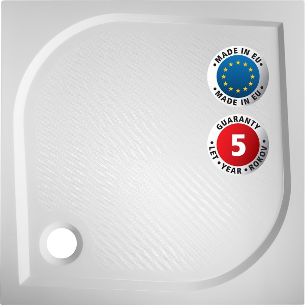 HOPA - Čtvercová mramorová sprchová vanička BURGAS - Hloubka - 90 cm, Šíře - 90 cm (VANKBUR90N+VANKBUR90P)
