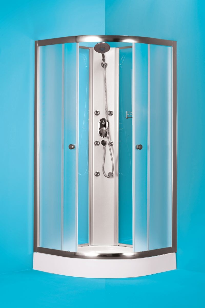 HOPA - Čtvrtkruhový sprchový box GRANADA - Barva rámu zástěny - Hliník chrom, Hloubka - 90 cm, Provedení - Univerzální, Šíře - 90 cm, Vanička HL - Akrylová vanička, Výplň - Matné bezpečnostní sklo - 5 mm (OLBGRA90CMBV+OLBGRA90V)
