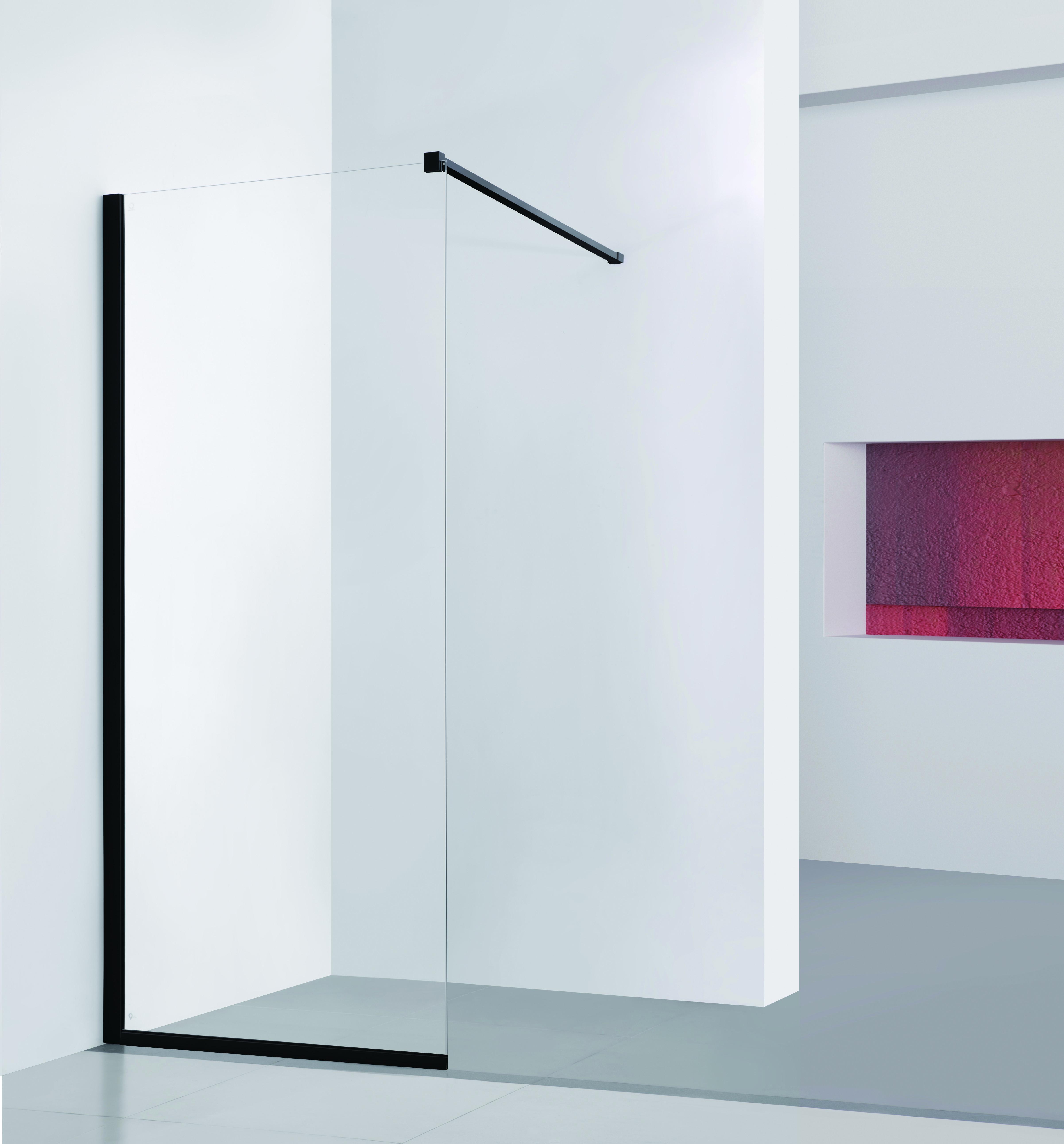 HOPA - Walk-in sprchový kout LAGOS BLACK - Barva rámu zástěny - Hliník černý, Rozměr A - 90 cm (BCLAGO90BC)