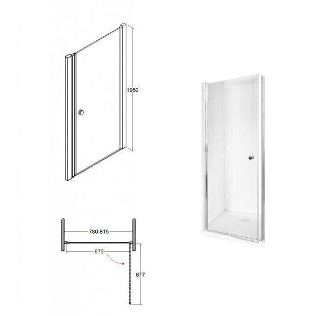HOPA - Bezrámové sprchové dvere SINCO - Farba rámu zásteny - Hliník chróm, Rozmer A - 80 cm, Smer zatváranie - Univerzálny Ľavé / Pravé, Výplň - Číre bezpečnostné sklo - 6 mm, Výška - 195 cm (BCSIN80)
