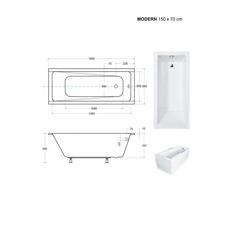 HOPA - Obdĺžniková vaňa MODERN SLIM - Nožičky k vani - S nožičkami, Rozmer vane - 150 × 70 cm (VANMOD15SLIM + OLVPINOZ)