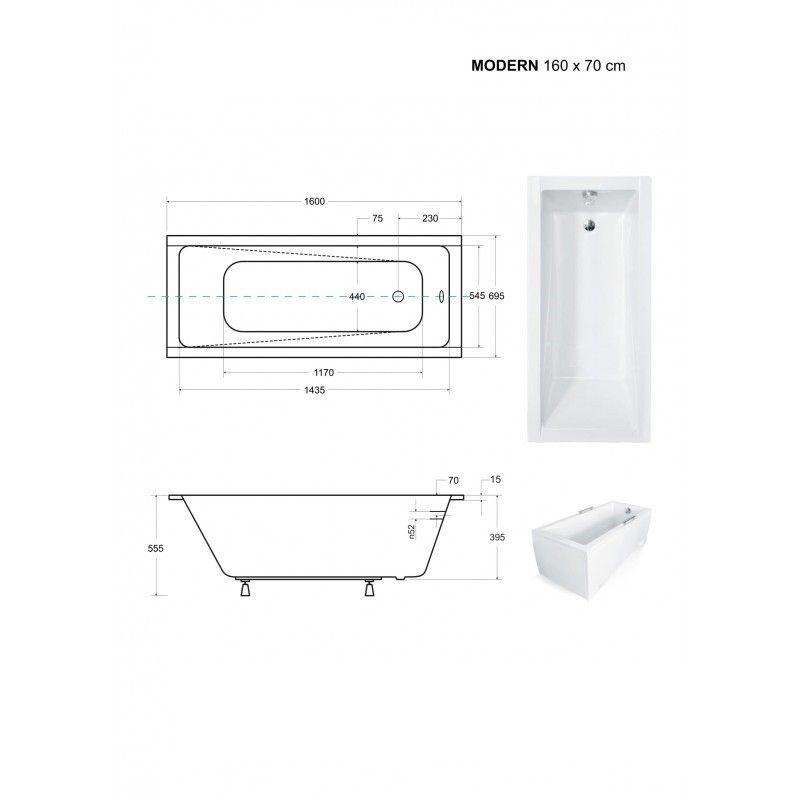 HOPA - Obdĺžniková vaňa MODERN SLIM - Nožičky k vani - S nožičkami, Rozmer vane - 160 × 70 cm (VANMOD16SLIM + OLVPINOZ)