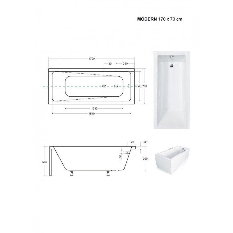 HOPA - Obdĺžniková vaňa MODERN SLIM - Nožičky k vani - S nožičkami, Rozmer vane - 170 × 70 cm (VANMOD17SLIM + OLVPINOZ)