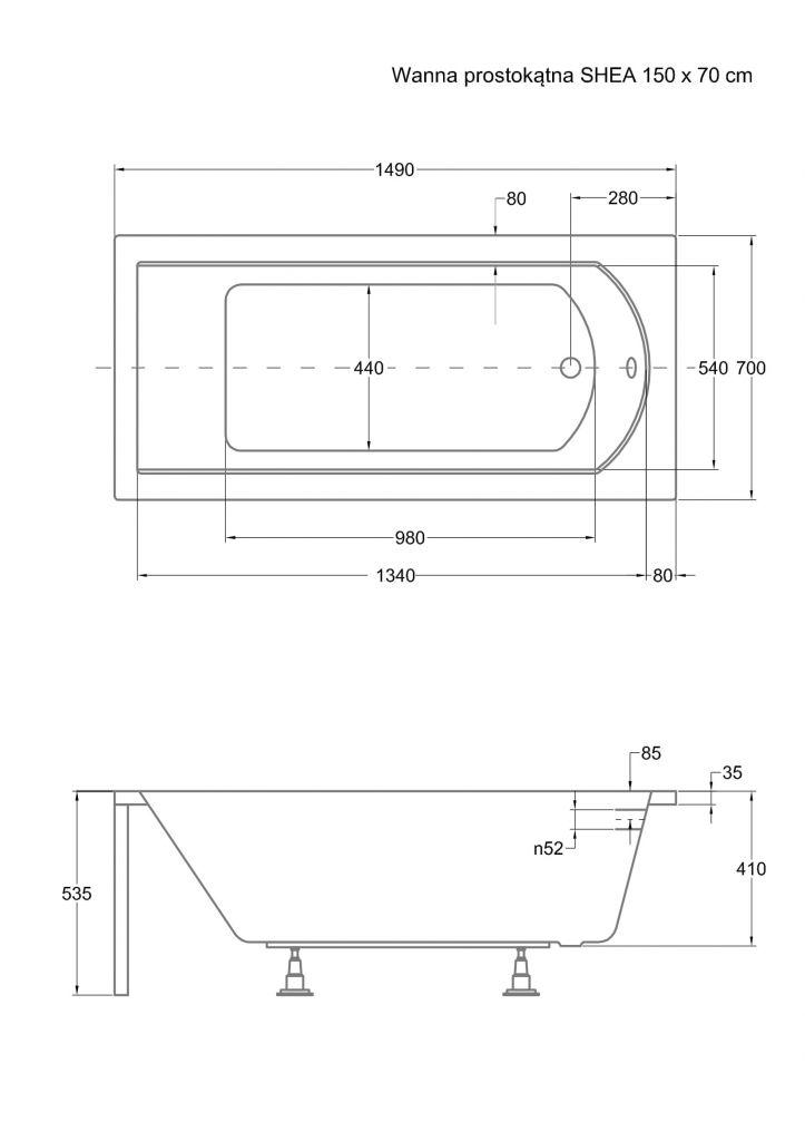 HOPA - Obdĺžniková vaňa SHEA - Nožičky k vani - S nožičkami, Rozmer vane - 150 × 70 cm (VANSHEA150 + OLVPINOZ)
