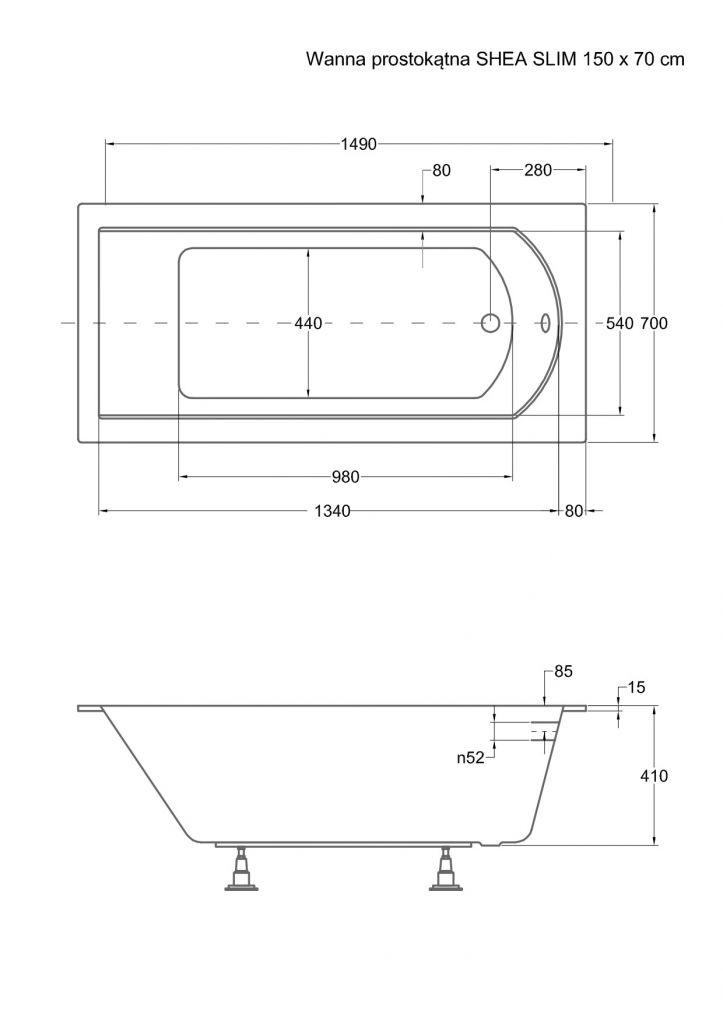 HOPA - Obdĺžniková vaňa SHEA SLIM - Nožičky k vani - Bez nožičiek, Rozmer vane - 150 × 70 cm (VANSHEA150SLIM)