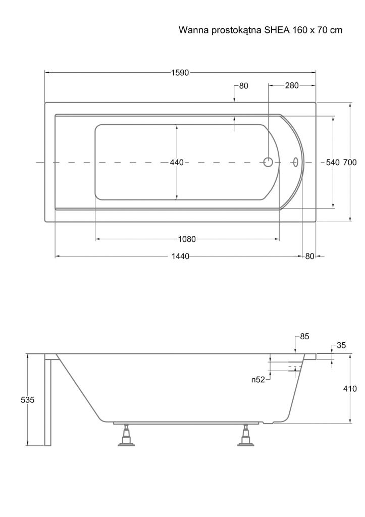 HOPA - Obdĺžniková vaňa SHEA - Nožičky k vani - S nožičkami, Rozmer vane - 160 × 70 cm (VANSHEA160 + OLVPINOZ)