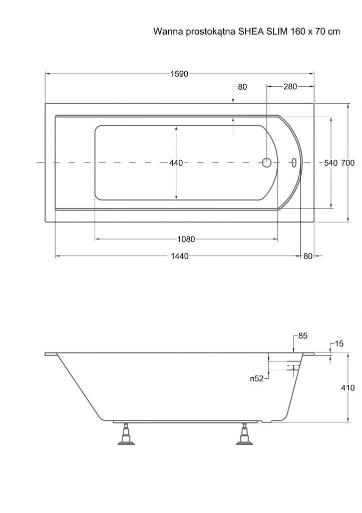 HOPA - Obdĺžniková vaňa SHEA SLIM - Nožičky k vani - Bez nožičiek, Rozmer vane - 160 × 70 cm (VANSHEA160SLIM)