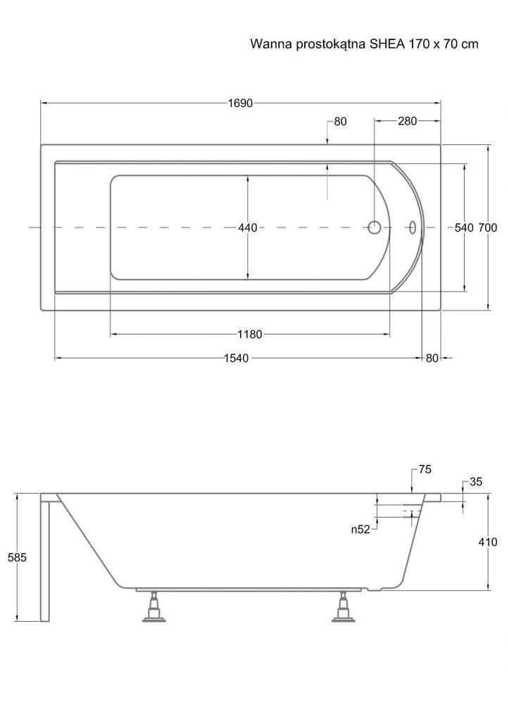 HOPA - Obdĺžniková vaňa SHEA - Nožičky k vani - S nožičkami, Rozmer vane - 170 × 70 cm (VANSHEA170 + OLVPINOZ)
