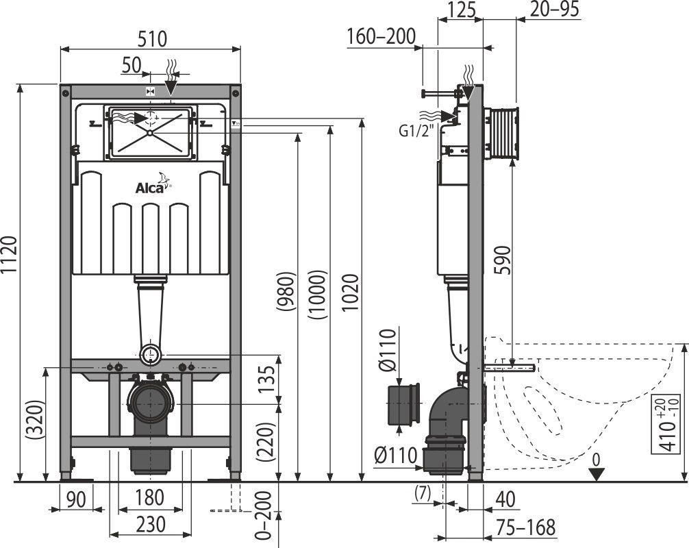 ALCAPLAST Sádromodul - predstenový inštalačný systém s chrómovým tlačidlom M1721 + WC JIKA LYRA PLUS 49 + SEDADLO duraplastu SLOWCLOSE (AM101/1120 M1721 LY4)
