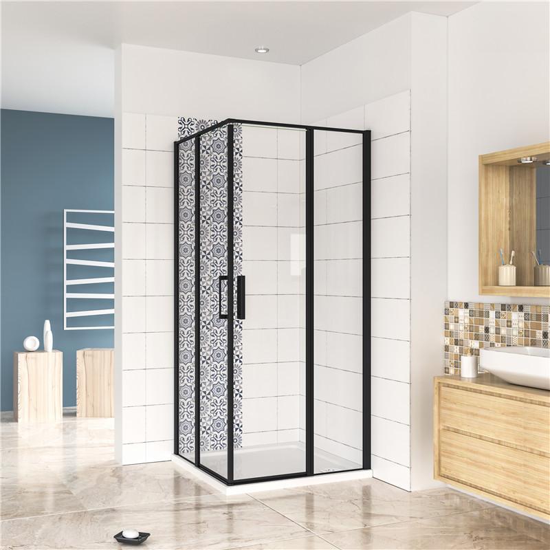 H K - Čtvercový sprchový kout BLACK SAFIR R101, 100x100 cm, se dvěma jednokřídlými dveřmi s pevnou stěnou, rohový vstup včetně sprchové vaničky z litého mramoru (SE-BLACKSAFIRR101/THOR-100SQ)