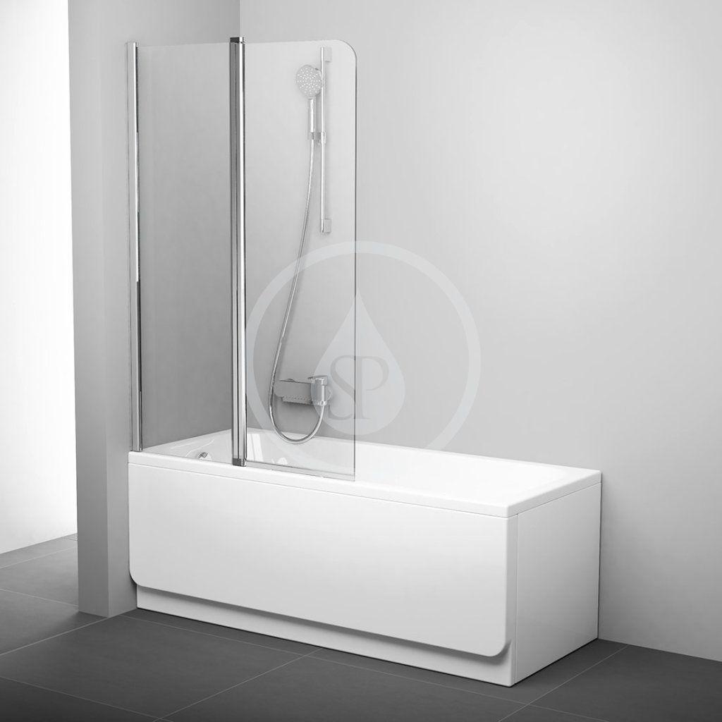 RAVAK - Chrome Vaňová zástena dvojdielna CVS2, ľavá, 990 mm x 1500 mm – farba lesklý hliník, sklo transparent 7QLA0C00Z1